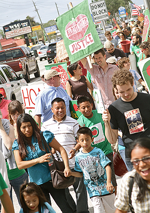 Student-Farmworkers Alliance & Coalition of Immokalee Workers march at Publix store in Sarasota, Florida – April 21, 2012
